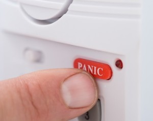 Person pushing panic button