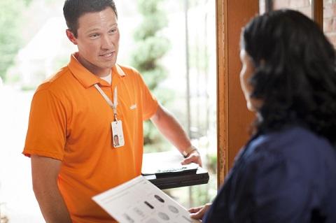 door to door alarm salesman