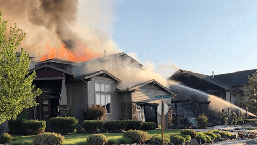 residential fire engulfs a home